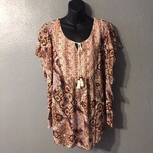 Style & Co Tops - Style & Co. Plus Size Tassel Peasent Top